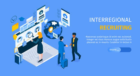 Interregional recruiting program landing page with standing on laptop agent searching candidates isometric web banner vector illustration