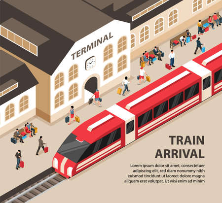 Arriving train railway station building and passengers with luggage 3d isometric vector illustration Фото со стока - 152700803