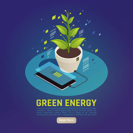 Green energy isometric composition with smartphone battery charging using plant leaves photosynthesis as power source vector illustration Иллюстрация
