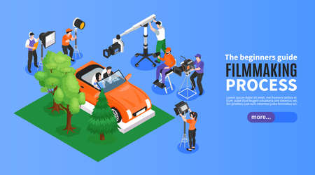Isometric cinematography horizontal banner with film set elements shooting crew and editable text with more button vector illustration