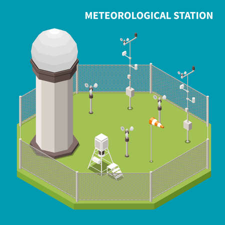 Weather forecast isometric concept with meteorological station symbols vector illustration Фото со стока - 152700811