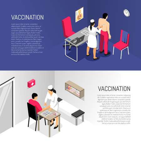 Isometric vaccination banners with nurse making an injection to adult man vector illustration Иллюстрация