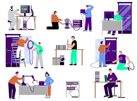 It specialist set of flat isolated icons characters of programmers technicians and servers with personal computers vector illustration
