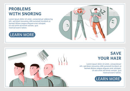 Men problem set of two horizontal banners with flat images and learn more buttons with text vector illustration