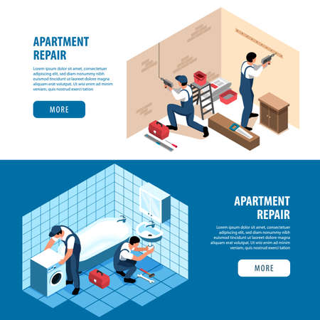 Isometric apartment repair horizontal banners set with living room and bathroom finishing images text and buttons vector illustration Фото со стока - 152609332