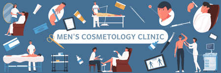 Cosmetology man pattern flat horizontal composition with text surrounded by medical equipment and cosmetic product icons vector illustration Иллюстрация