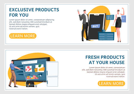 Online shop banner flat horizontal  banner set with exclusive products for you and fresh products at your home headlines vector illustration