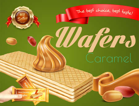 Delicious caramel wafers with nuts realistic advertisement on green background vector illustration Фото со стока - 152700833