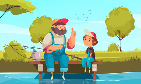 Grandpa and grandson fishing background with pastime symbols flat vector illustration  イラスト・ベクター素材