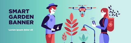 Smart garden horizontal banner with technology symbols flat vector illustration Фото со стока - 152700843