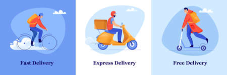 Fast and free delivery service flat design concept with men delivering packages by bike motorbike and scooter isolated vector illustration