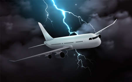 Airplane night storm realistic composition with image of passenger jet in thunderstorm clouds with thunderbolt image vector illustration