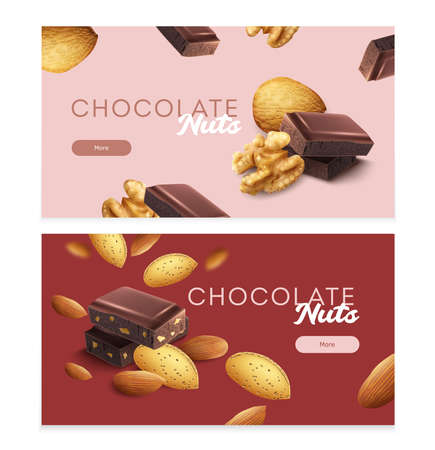 Horizontal banners set with pieces of nuts chocolate bar realistic isolated vector illustration Иллюстрация
