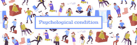 Mental health flat pattern with people characters colorful figurines in different psychological conditions vector illustration Фото со стока - 152700853
