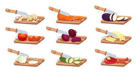 Sliced vegetables and knife set with tomato pepper and onion flat isolated vector illustration Фото со стока - 152609344