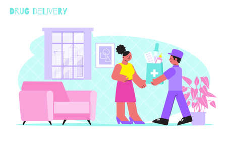Drug delivery background with courier and consumer in home interior flat vector illustration Фото со стока - 152609349