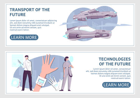 Technologies of future two isolated horizontal  banners with futuristic transport smart watch and other gadgets vector illustration Иллюстрация