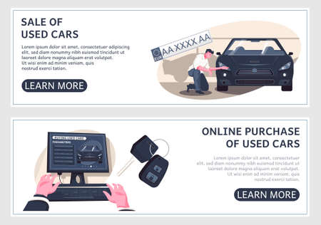 Set of two horizontal used car banners with editable text learn more buttons and flat images vector illustration Иллюстрация