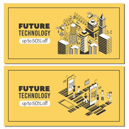 Set of two future technology horizontal banners with editable text and images of smartphones and barcodes vector illustration Иллюстрация