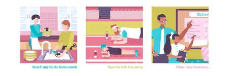 Parenting flat illustrations set of day planning teaching to do homework sports training vector illustration