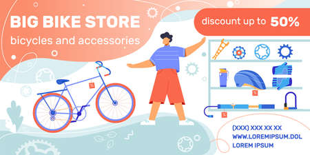 Bicycle shop discount advertising horizontal banner with bike store goods riding equipment gear icons and text vector illustration