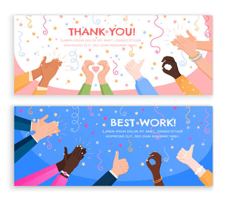 Clapping ok heart hands applause set of horizontal banners with editable text and flat holiday images vector illustration Фото со стока - 152609487