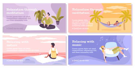 Relax four flat banners set of people relaxing with music nature or through meditation isolated vector illustration
