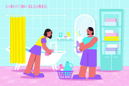 Bathroom cleaning flat composition with 2 women scrubbing bathtub surface with dipped in cleanser sponge vector illustration Фото со стока - 152609423