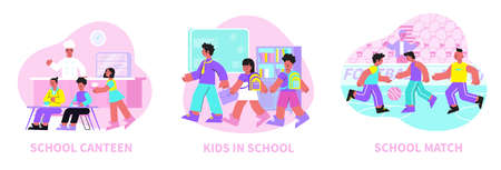 School 3 flat compositions with college football soccer match pupils in classroom and in canteen vector illustration Фото со стока - 152609409