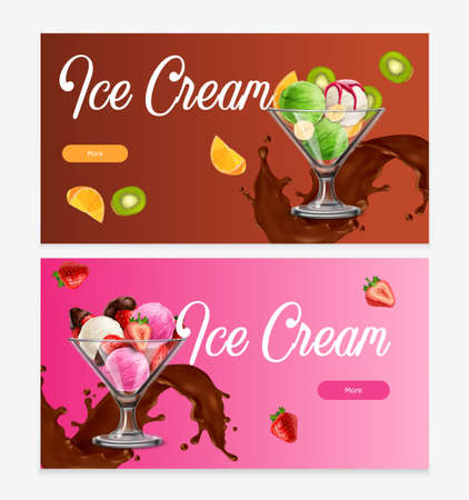 Natural fruit ice cream balls desserts with chocolate splash 2 realistic horizontal background web banners vector illustration Фото со стока - 152608948