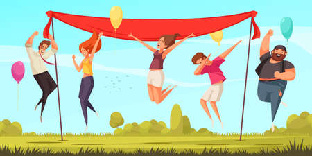 Joyful jumping people background with celebration symbols flat vector illustration Фото со стока - 152700867