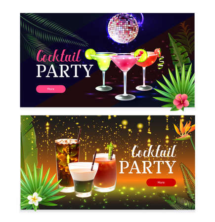 Set of two horizontal party cocktail banners with glasses of drinks and fireworks realistic isolated vector illustration Иллюстрация