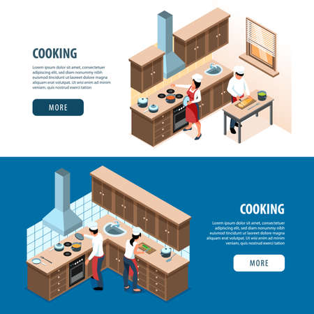 Isometric people cooking set of two horizontal banners with home kitchen cabinetry with cooks and text vector illustration
