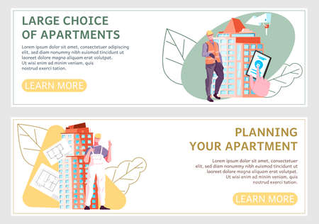 Horizontal new buildings banner set with large choice of apartments and planning your apartment headlines vector illustration
