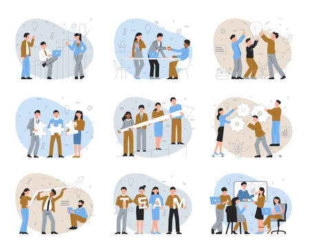 Teamwork color set of isolated compositions with coworkers with silhouette icons of ideas gear and charts vector illustration Фото со стока - 152609334