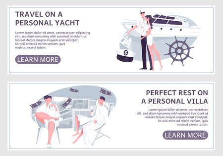 Vip transport rental set of flat horizontal banners with doodle images editable text and clickable button vector illustration Иллюстрация