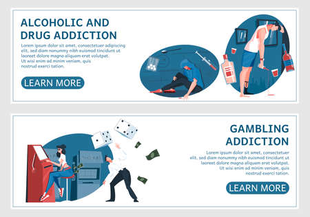 Set of two addiction horizontal banners with flat human characters editable text and learn more buttons vector illustration
