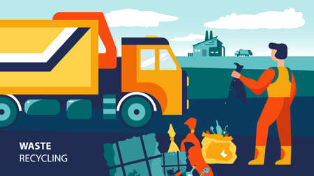 Waste recycling composition with text and doodle character of garbage collector with truck and rubbish bags vector illustration Фото со стока - 152608952