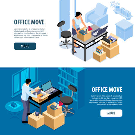Isometric office move banners set of indoor scenes with people packing things more button and text vector illustration Фото со стока - 152609559