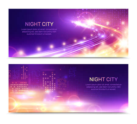 Night city lights horizontal banners set with editable text and glowing building windows with speed motorway vector illustration