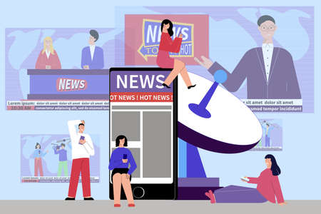 Online news composition with flat images of smartphone and satellite antenna with news broadcast tv screens vector illustration Иллюстрация