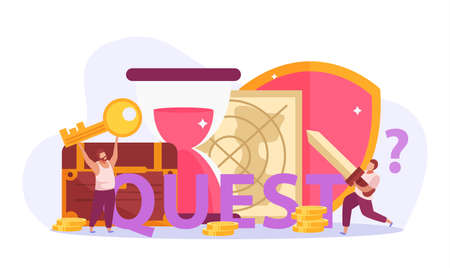 Quest game flat composition with text and doodle people with images of treasure chest and keys vector illustration
