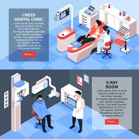 Isometric dantist horizontal banners set with editable text more button and dentists room interiors with people vector illustration