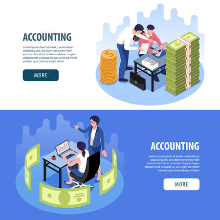 Accounting 2 horizontal isometric web page banners  with financial planing audit tax collection banknotes pile vector illustration