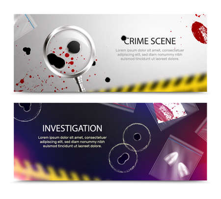 Criminalistic detective horizontal banners set with realistic closeup blood spots and bullet holes and editable text vector illustration