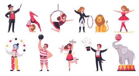 Circus icons set with weekend recreation program symbols cartoon isolated vector illustration Фото со стока - 152609313