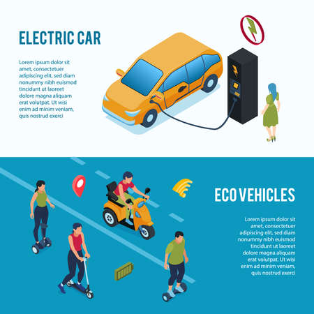 Environmentally friendly green energy transport 2 isometric web banners with electric car and eco vehicles vector illustration