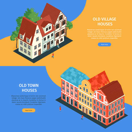 Two horizontal isometric old town banner set old house village and old town houses headlines vector illustration