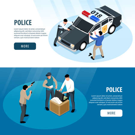 Isometric police horizontal banners set with custody scene images human characters and text with more button vector illustration Фото со стока - 152609004