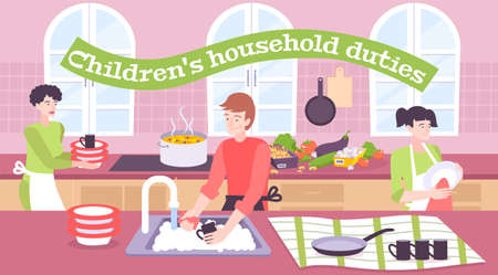 Children household duties flat composition with girl helping her parents to wash dishes in kitchen vector illustration